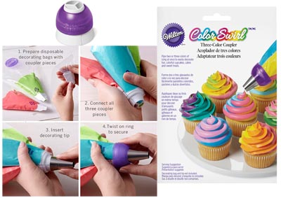 Adattatore Triplo 3-Colori Color Swirl Wilton per sac a poche
