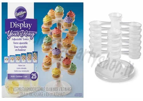 Alzata Torre  in Plastica movibile per 25 cupcakes Wilton