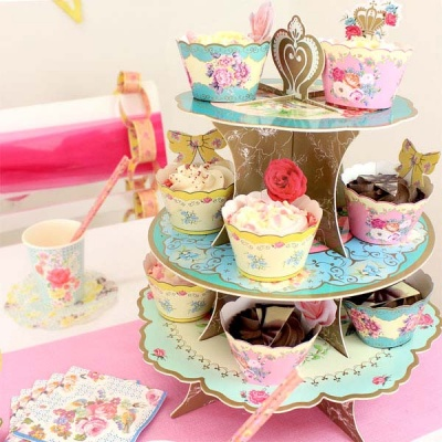 Alzata in Cartone a 3 Livelli per  Muffins/Cupcake Vintage Talking Table