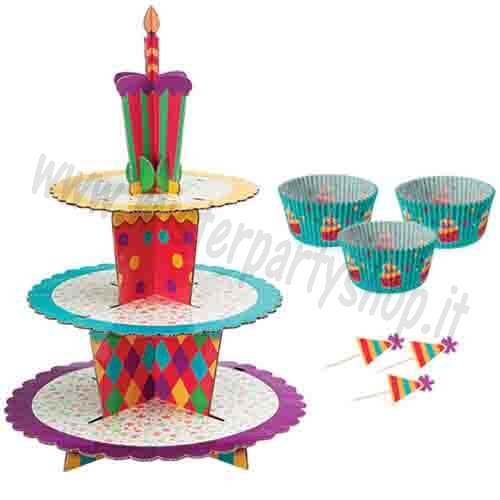 Alzata in Cartone a 3 Livelli per  Muffins con pirottini e picks  - Stand Kit Celebration Wilton