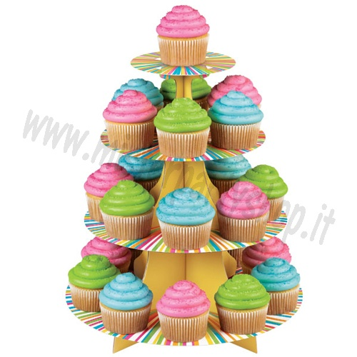 Alzata in Cartone a 4 Livelli Color Wheel per  Muffins/Cupcake Wilton
