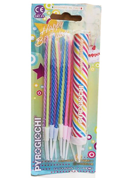Candelotto Happy Birthday con 12 candeline stelo colorate Pyrogiochi