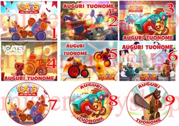 Cialda Ostia per torte Cats Crash Arena Turbo Stars