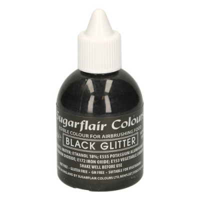 Colorante Liquido Nero Glitter Brillante Sugarflair per Aerografo 60 ml.