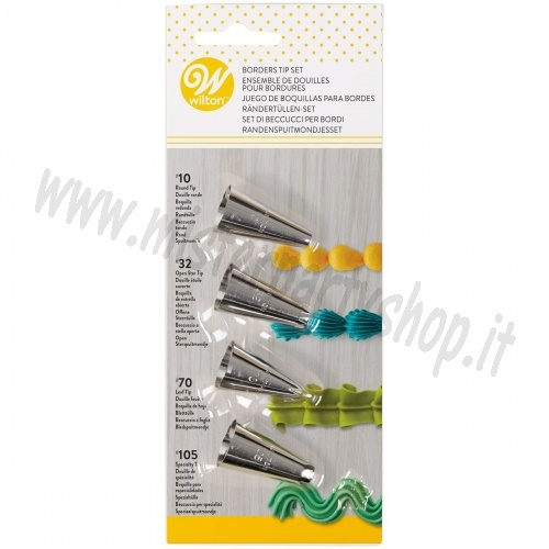 Set 4 Beccucci WILTON ORIGINALI numeri: 10, 32, 70, 105 per bordature