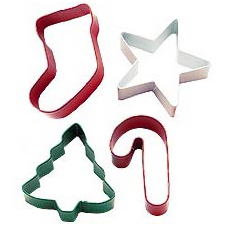 Tagliapasta Natale Set/4 Jolly Shapes Metal Cutter Wilton